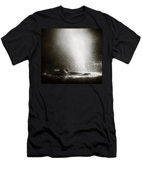 Hippo Blowing  Air Men's T-Shirt (Slim Fit) by Johan Swanepoel