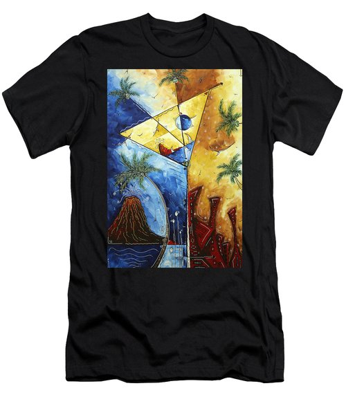 Island Martini  Original Madart Painting Men's T-Shirt (Slim Fit) by Megan Duncanson