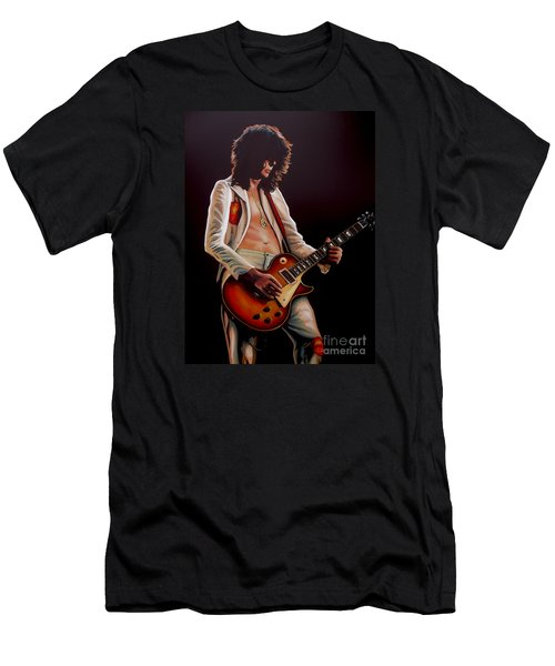 Jimmy Page In Led Zeppelin Painting Men's T-Shirt (Slim Fit) by Paul Meijering