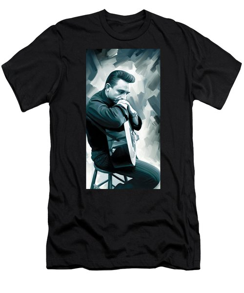 Johnny Cash Artwork 3 Men's T-Shirt (Slim Fit) by Sheraz A