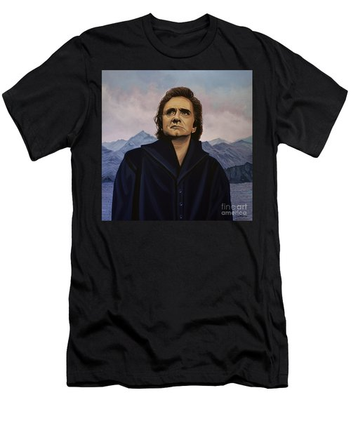 Johnny Cash Painting Men's T-Shirt (Slim Fit) by Paul Meijering