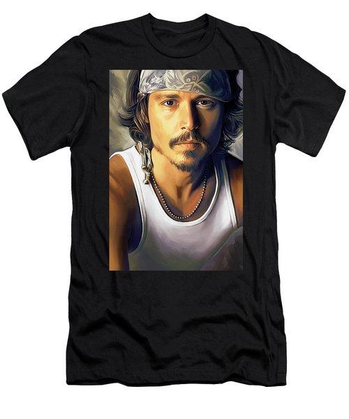 Johnny Depp Artwork Men's T-Shirt (Slim Fit) by Sheraz A