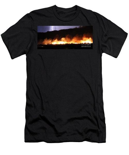 Men's T-Shirt (Slim Fit) featuring the photograph Lightning During Wildfire by Bill Gabbert