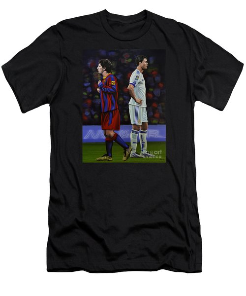 Lionel Messi And Cristiano Ronaldo Men's T-Shirt (Slim Fit) by Paul Meijering