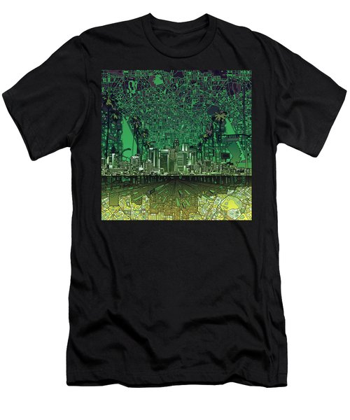Los Angeles Skyline Abstract 6 Men's T-Shirt (Slim Fit) by Bekim Art