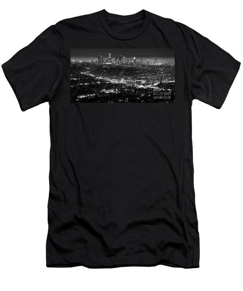 Los Angeles Skyline At Night Monochrome Men's T-Shirt (Slim Fit) by Bob Christopher