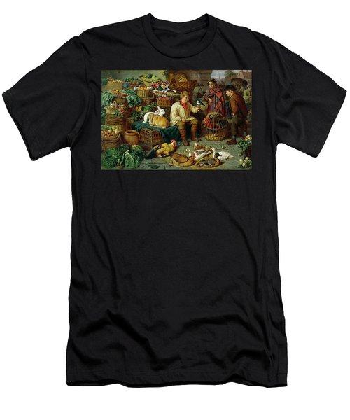 Market Scene Men's T-Shirt (Slim Fit) by Henry Charles Bryant
