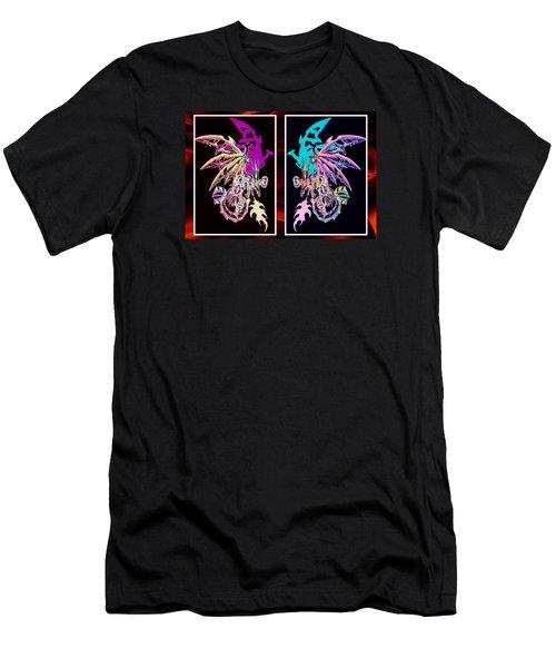 Mech Dragons Pastel Men's T-Shirt (Slim Fit) by Shawn Dall