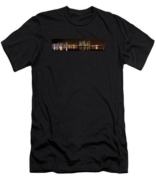 Miami - Skyline Panorama Men's T-Shirt (Slim Fit) by Brendan Reals
