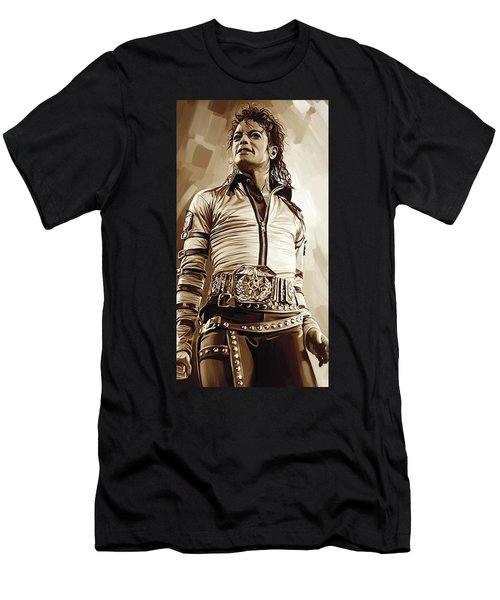 Michael Jackson Artwork 2 Men's T-Shirt (Slim Fit) by Sheraz A