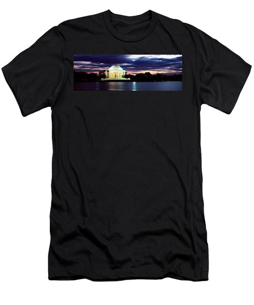 Monument Lit Up At Dusk, Jefferson Men's T-Shirt (Slim Fit) by Panoramic Images