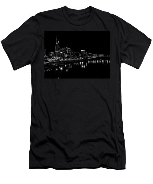 Nashville Skyline At Night In Black And White Men's T-Shirt (Slim Fit) by Dan Sproul