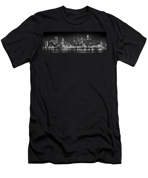 Philadelphia Philly Skyline At Night From East Black And White Bw Men's T-Shirt (Slim Fit) by Jon Holiday