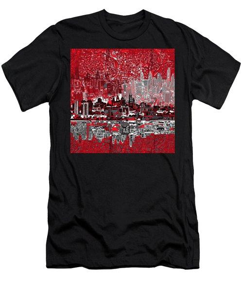 Philadelphia Skyline Abstract 4 Men's T-Shirt (Slim Fit) by Bekim Art