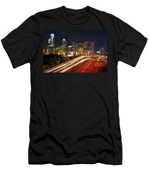 Philadelphia Skyline At Night In Color Car Light Trails Men's T-Shirt (Slim Fit) by Jon Holiday