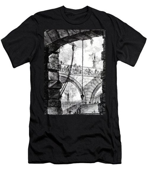 Plate 4 From The Carceri Series Men's T-Shirt (Slim Fit) by Giovanni Battista Piranesi