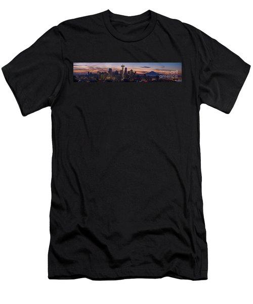 Seattle Cityscape Morning Light Men's T-Shirt (Slim Fit) by Mike Reid