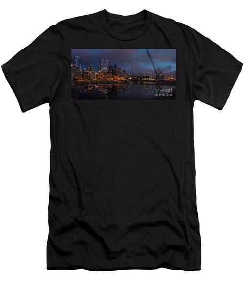 Seattle Night Skyline Men's T-Shirt (Slim Fit) by Mike Reid