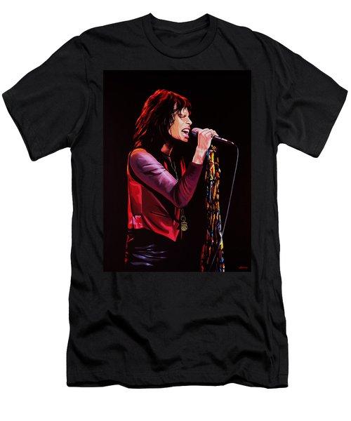 Steven Tyler In Aerosmith Men's T-Shirt (Slim Fit) by Paul Meijering