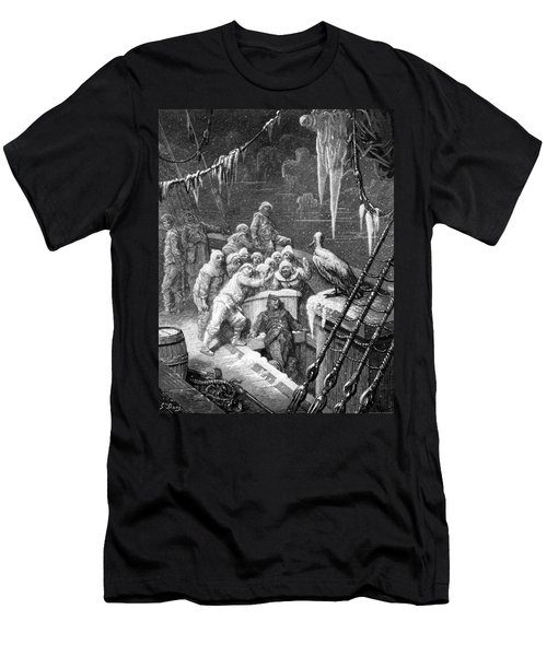 The Albatross Being Fed By The Sailors On The The Ship Marooned In The Frozen Seas Of Antartica Men's T-Shirt (Slim Fit) by Gustave Dore