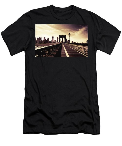 The Brooklyn Bridge - New York City Men's T-Shirt (Slim Fit) by Vivienne Gucwa
