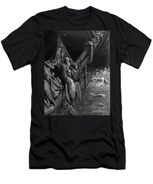 The Mariner Gazes On The Serpents In The Ocean Men's T-Shirt (Slim Fit) by Gustave Dore