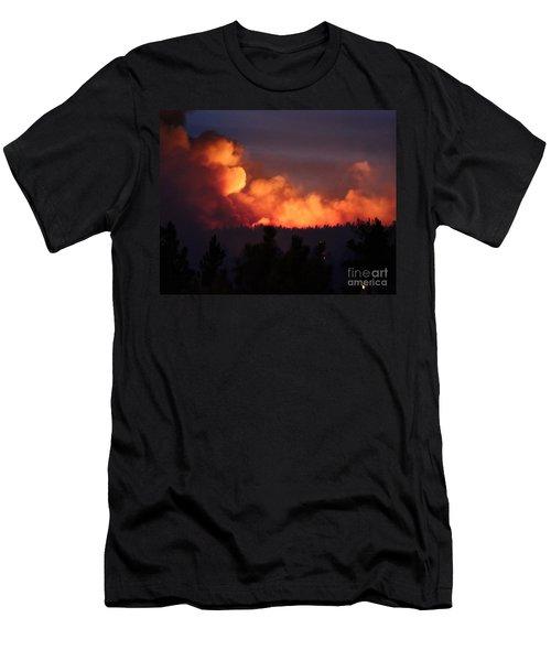 Men's T-Shirt (Slim Fit) featuring the photograph White Draw Fire First Night by Bill Gabbert