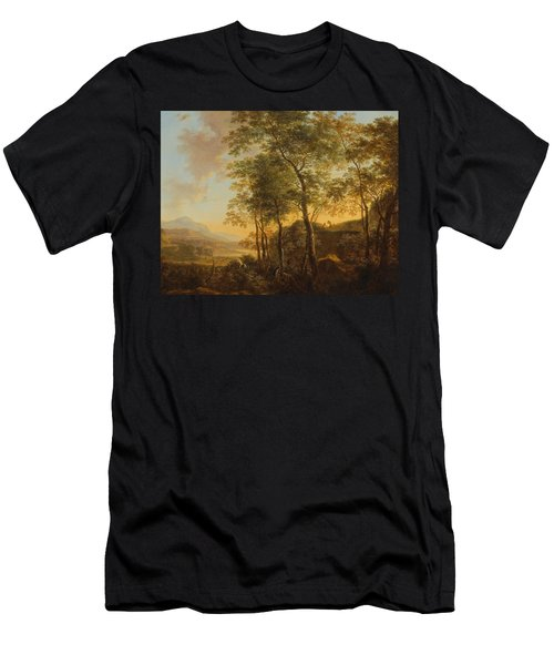 Wooded Hillside With A Vista Men's T-Shirt (Slim Fit) by Jan Both