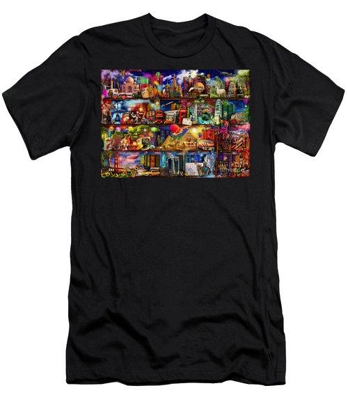World Travel Book Shelf Men's T-Shirt (Slim Fit) by Aimee Stewart