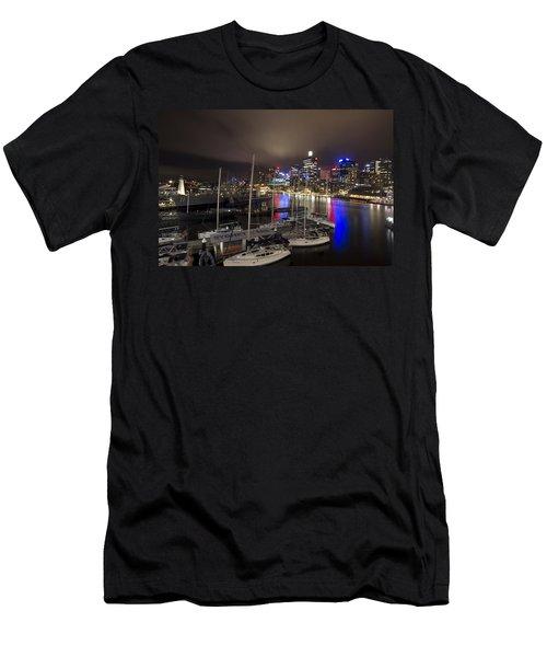 Darling Harbor Sydney Skyline 2 Men's T-Shirt (Slim Fit) by Douglas Barnard