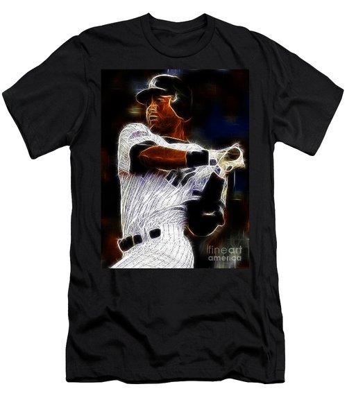Derek Jeter New York Yankee Men's T-Shirt (Slim Fit) by Paul Ward
