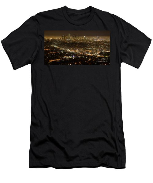 Los Angeles  City View At Night  Men's T-Shirt (Slim Fit) by Bob Christopher