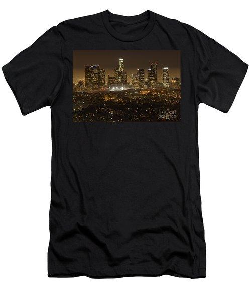 Los Angeles Skyline At Night Men's T-Shirt (Slim Fit) by Bob Christopher