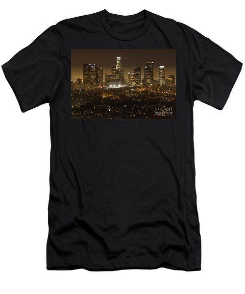 Los Angeles Skyline At Night Men's T-Shirt (Slim Fit) by Bob Christopher
