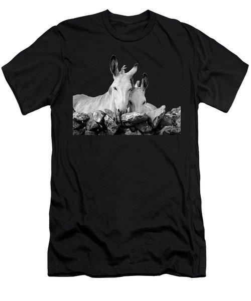 Two White Irish Donkeys Men's T-Shirt (Slim Fit) by RicardMN Photography