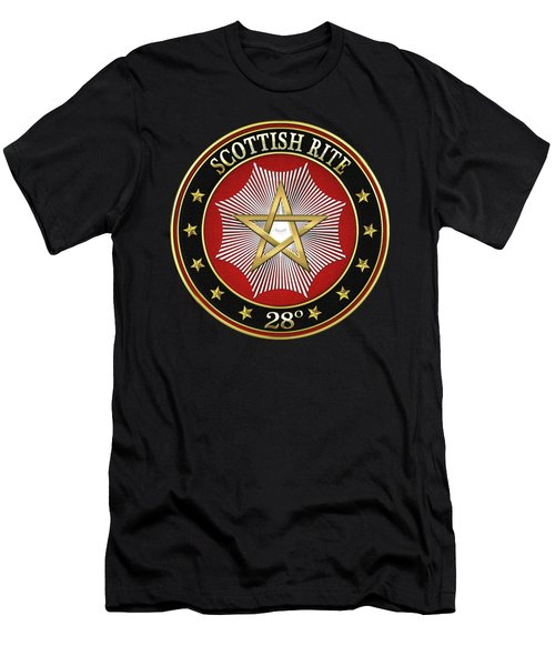 28th Degree - Knight Commander Of The Temple Jewel On Black Leather Men's T-Shirt (Slim Fit) by Serge Averbukh