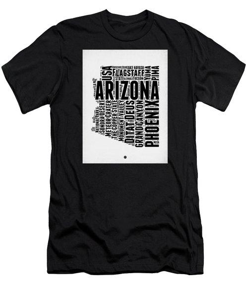 Arizona Word Cloud Map 2 Men's T-Shirt (Slim Fit) by Naxart Studio