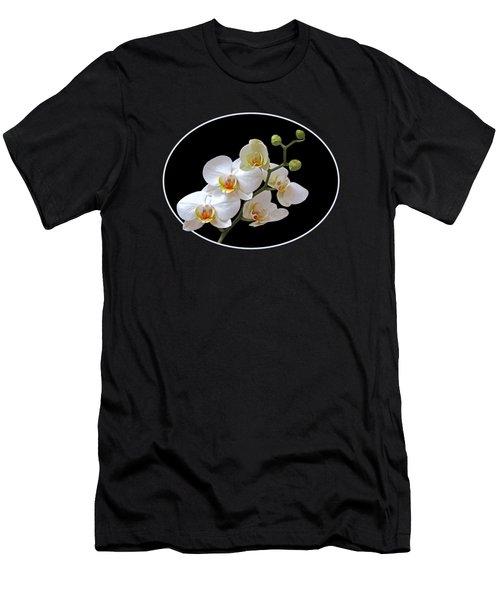 White Orchids On Black Men's T-Shirt (Slim Fit) by Gill Billington