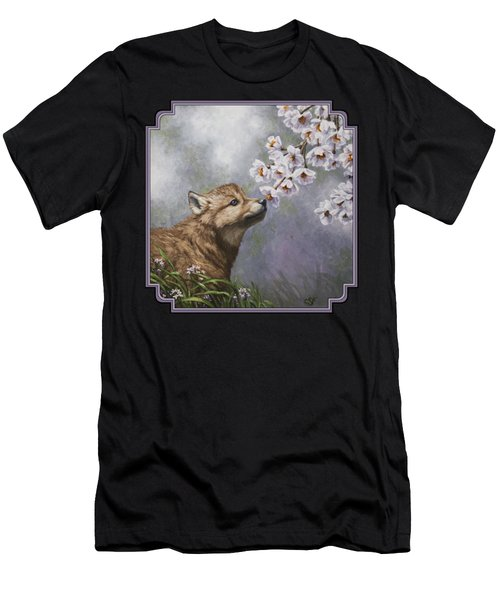 Wolf Pup - Baby Blossoms Men's T-Shirt (Slim Fit) by Crista Forest