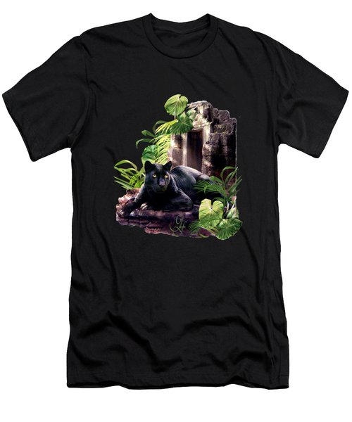 Black Panther Custodian Of Ancient Temple Ruins  Men's T-Shirt (Slim Fit) by Regina Femrite