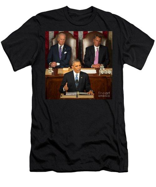 Barack Obama 2015 Sotu Address Men's T-Shirt (Slim Fit) by Science Source
