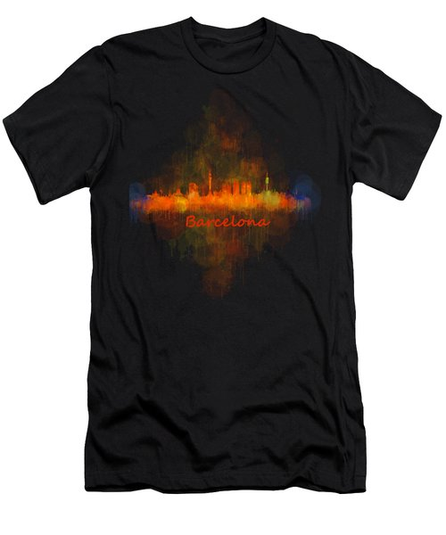 Barcelona City Skyline Uhq _v4 Men's T-Shirt (Slim Fit) by HQ Photo