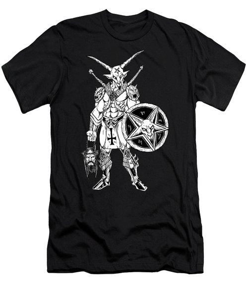Battle Goat Black Men's T-Shirt (Slim Fit) by Alaric Barca