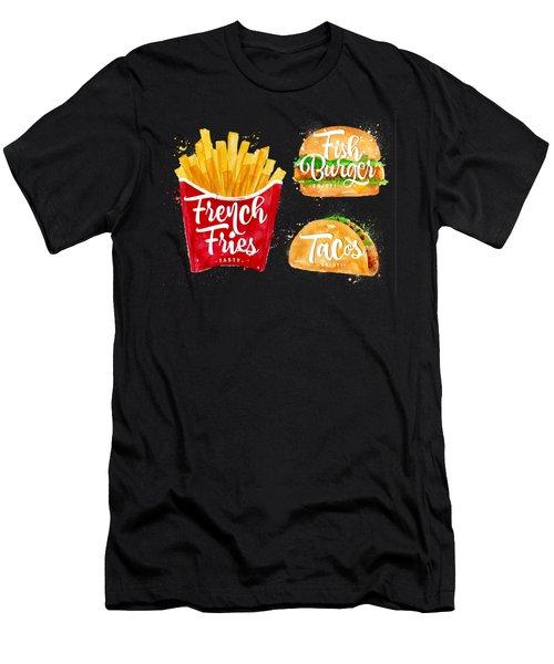 Black French Fries Men's T-Shirt (Slim Fit) by Aloke Design