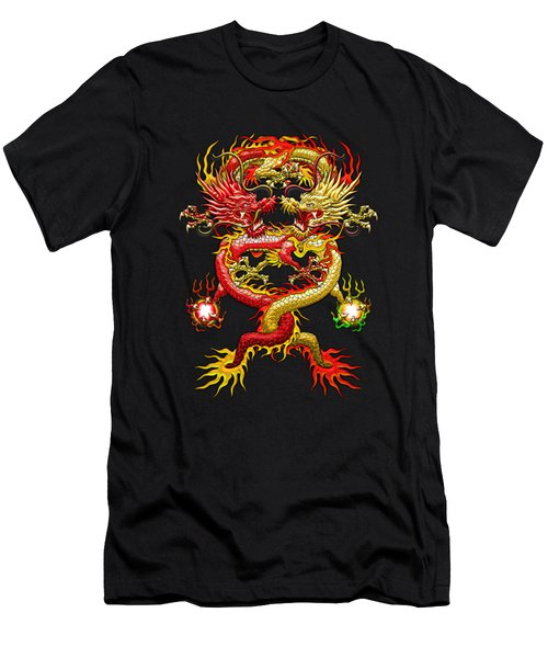 Brotherhood Of The Snake - The Red And The Yellow Dragons On Red And Black Leather Men's T-Shirt (Slim Fit) by Serge Averbukh