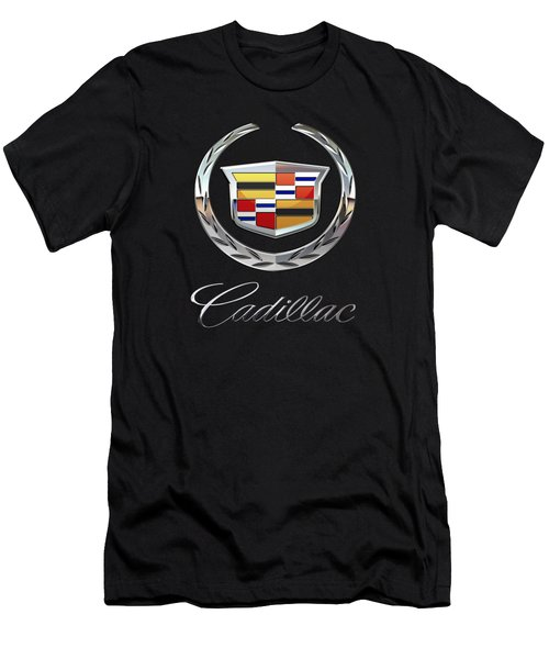 Cadillac - 3d Badge On Black Men's T-Shirt (Slim Fit) by Serge Averbukh