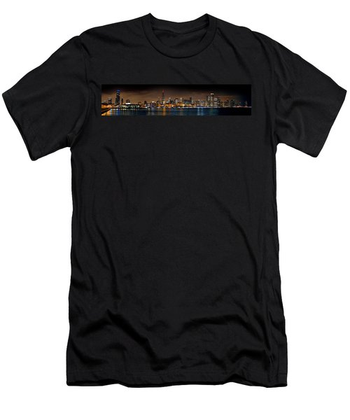 Chicago Skyline At Night Extra Wide Panorama Men's T-Shirt (Slim Fit) by Jon Holiday