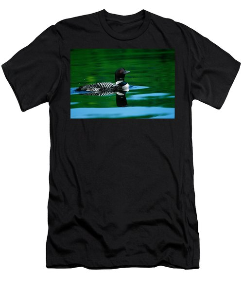 Common Loon In Water, Michigan, Usa Men's T-Shirt (Slim Fit) by Panoramic Images