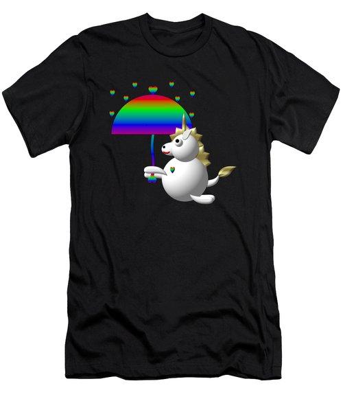 Cute Unicorn With An Umbrella Men's T-Shirt (Slim Fit) by Rose Santuci-Sofranko