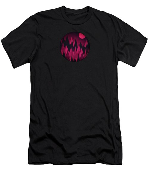 Dark Triangles - Peak Woods Abstract Grunge Mountains Design In Red Black Men's T-Shirt (Slim Fit) by Philipp Rietz